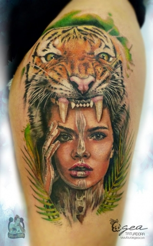 Girl tiger tattoo